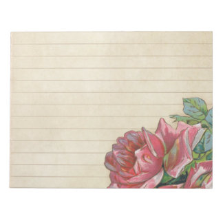 Vintage Grunge-Rose mit Linien Notizblock