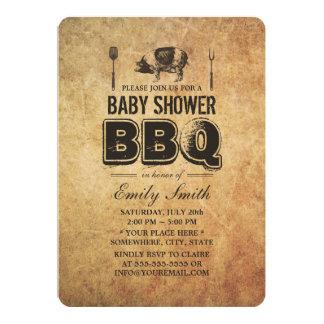 Vintage Grunge-Schwein-Braten-Baby-Dusche GRILLEN 12,7 X 17,8 Cm Einladungskarte
