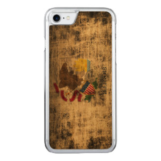 Vintage Grunge-Staats-Flagge von Illinois Carved iPhone 8/7 Hülle
