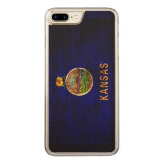 Vintage Grunge-Staats-Flagge von Kansas Carved iPhone 8 Plus/7 Plus Hülle