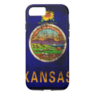 Vintage Grunge-Staats-Flagge von Kansas iPhone 8/7 Hülle