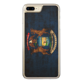 Vintage Grunge-Staats-Flagge von Michigan Carved iPhone 8 Plus/7 Plus Hülle