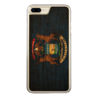 Vintage Grunge-Staats-Flagge von Michigan Carved iPhone 8 Plus/7 Plus Hülle
