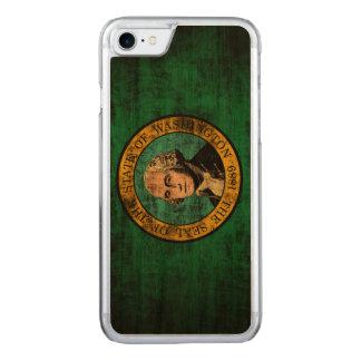 Vintage Grunge-Staats-Flagge von Washington Carved iPhone 8/7 Hülle