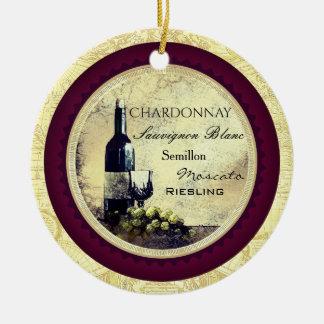 Vintage Grüntrauben Weihnachtsverzierung des Rundes Keramik Ornament