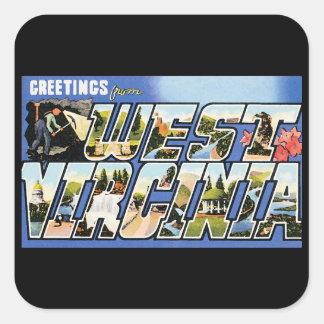 Vintage Grüße von West Virginia Quadratsticker