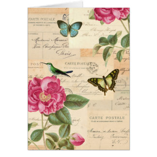 Vintage Grußkarte mit Rosen und Schmetterlingen
