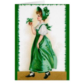 Vintage Grußkarte St. Patricks - süßes Mädchen