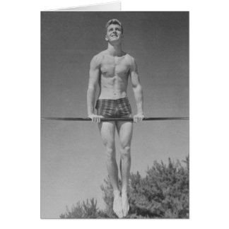 Vintage Gymnast-Karte Grußkarte