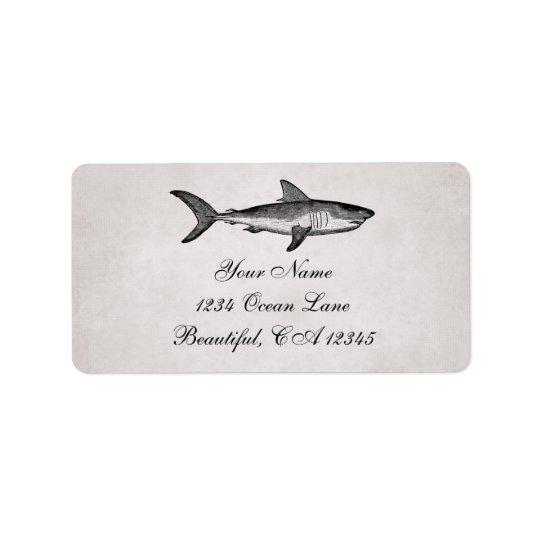 Vintage Haifisch-Ozean-Strand-Adresse Adressaufkleber