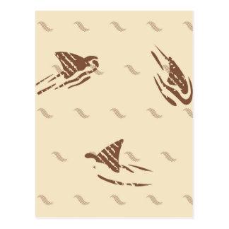 Vintage Haifische des Grunge 3 Flossen Postkarte