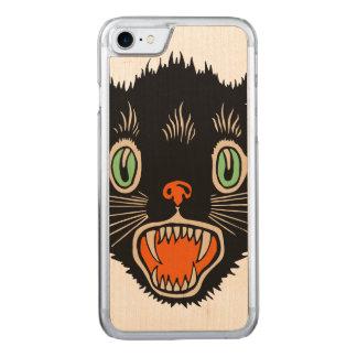 Vintage Halloween erschrockene schwarze Katze Carved iPhone 8/7 Hülle