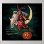 Vintage Halloween-Eule und Hexe-Plakat Poster
