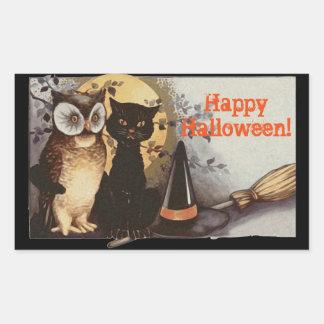 Vintage Halloween-Eule und schwarze Katze nachts Rechteckiger Aufkleber