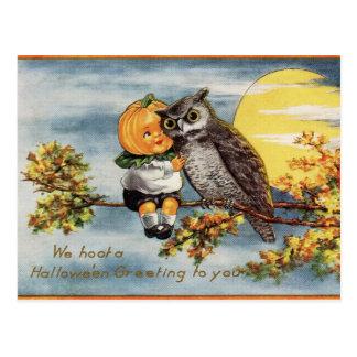Vintage Halloween-Eulen-Mond-Kürbis-Postkarte Postkarte