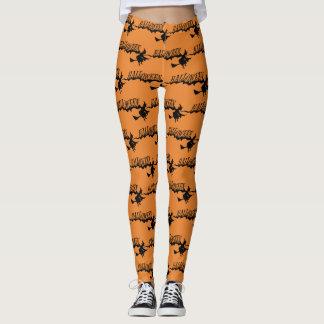 Vintage Halloween-Hexe-klassisches orange Leggings