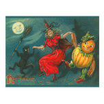 Vintage Halloween-Hexe-Postkarte