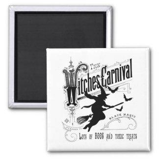 Vintage Halloween-Hexe Quadratischer Magnet