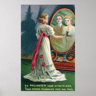 Vintage Halloween-Hexe und Frauen-Partyplakat Poster