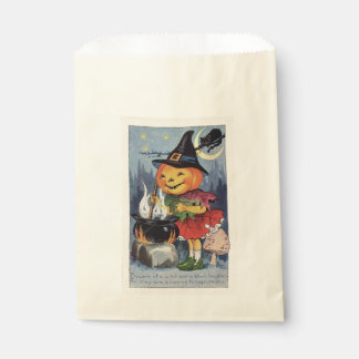 Vintage Halloween-Kürbis-Hexe Geschenktütchen