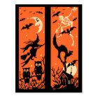 Vintage Halloween-Silhouette-Illustration Postkarte