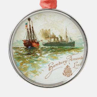 Vintage Hamburg-Amerika Linie runde Verzierung Rundes Silberfarbenes Ornament