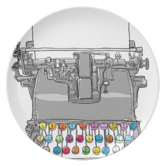 Vintage Hand der Schreibmaschine gezeichnet Teller