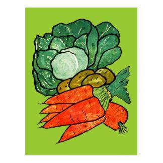 Vintage handgemalte Karotten, Kopfsalat u. Postkarte