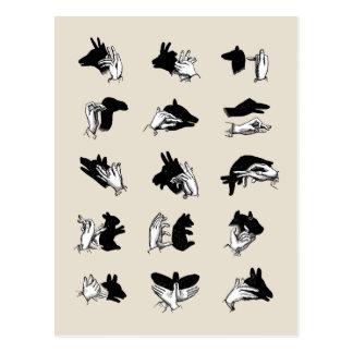 Vintage Handmarionetten-Schatten-Spiele Postkarten