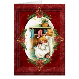 Vintage hängende Strumpf-Weihnachtskarte Karte