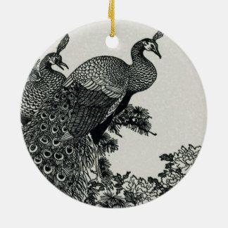 Vintage Hapiness Paar-Pfaus und Pfingstrosen Keramik Ornament