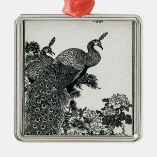 Vintage Hapiness Paar-Pfaus und Pfingstrosen Silbernes Ornament