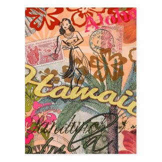 Vintage Hawaii-Reise-buntes hawaiisches tropisches Postkarte