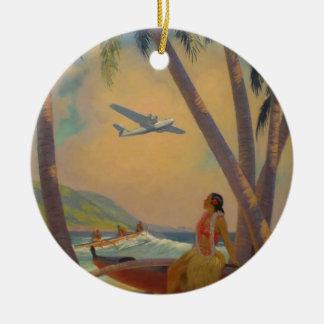 Vintage hawaiische Reise - Hawaii-Mädchen-Tänzer Keramik Ornament