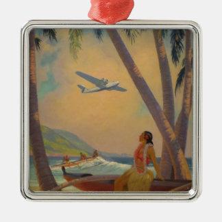 Vintage hawaiische Reise - Hawaii-Mädchen-Tänzer Silbernes Ornament
