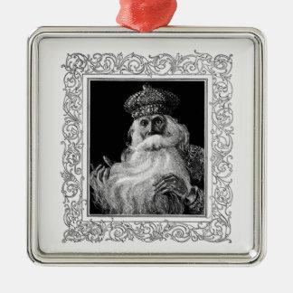 Vintage Heilig-Nicholas-Weihnachtsverzierung Quadratisches Silberfarbenes Ornament