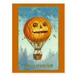 Vintage Heißluft-Ballon-Postkarte Halloweens JOL