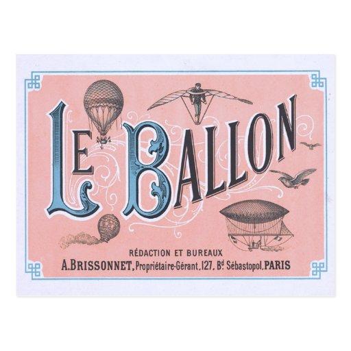 Vintage Heißluft-Ballon-Postkarte Paris