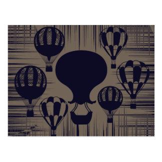 Vintage Heißluft-Ballone beunruhigten Grunge Postkarte