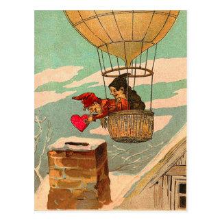 Vintage Heißluft-Ballonvalentine-Postkarte Postkarte
