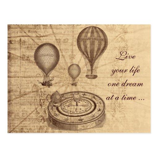 Vintage Heißluftballone - steampunk Postkarte