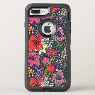 Vintage helle Blumenmuster iPhone 7 Plusfall OtterBox Defender iPhone 8 Plus/7 Plus Hülle