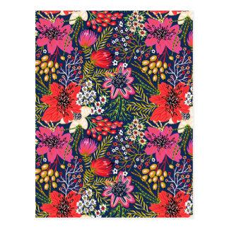 Vintage helle Blumenmuster-Postkarte Postkarte