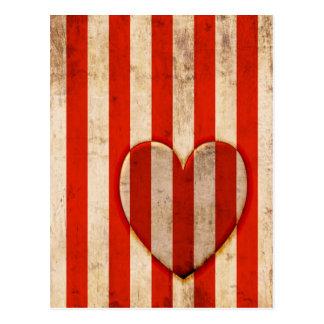 Vintage Herz-Rot-Streifen Postkarte