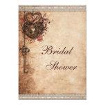 Vintage Herzen Verschluss und Schlüssel-Brautparty Personalisierte Einladung