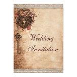 Vintage Herzen Verschluss und Schlüssel-Hochzeit Personalisierte Einladungen