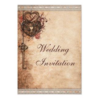 Vintage Herzen Verschluss und Schlüssel-Hochzeit 12,7 X 17,8 Cm Einladungskarte