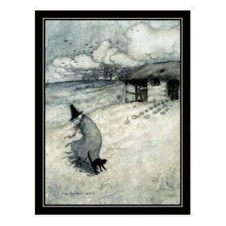 Vintage Hexe Halloweens Arthur Rackham + Schwarze Postkarte