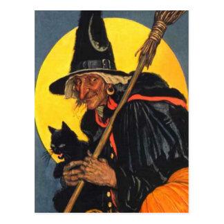 Vintage Hexe mit schwarzer Katze Postkarte