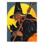 Vintage Hexe mit schwarzer Katze Postkarten